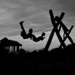 Children Swing Two Black And White Silhouette
