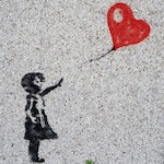 Balloon Child Mural Girl Innocent Heart Graffiti